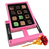 Sparkling Creation Of Pralines Chocolates For Love One With 24k Red Gold Rose - Chocholik Belgium Chocolates