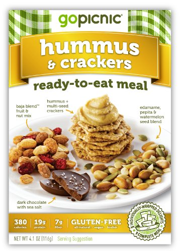 GoPicnic Ready-to-Eat Meals Hummus & Crackers (Pack of 6)