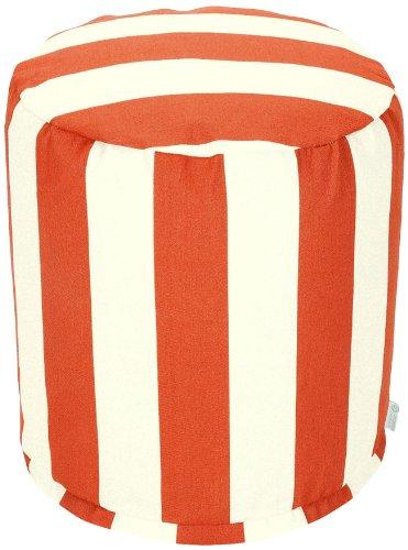 Majestic Home Goods Vertical Stripe Pouf, Small, Burnt Orange front-303332