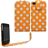 Sleek Gadgets - Orange Polka Dots Series Flip Case Cover for Apple iPhone 4, iPhone 4S, 4 S 8GB, 16GB