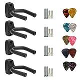 4 Pack Guitar Hanger Hook Holder Wall Mount Display Acoustic Guitar Stand Ukulele Bass Mandolin Banjo Wall Mounts Hangers Black with 10 pcs picks