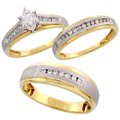 piece trio his satin center wedding band set wedding rings sets