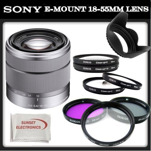 Sony E-Mount SEL 1855 18-55mm f/3.5-5.6 Zoom Lens for Alpha NEX Cameras (Silver) + SSE Accessory Kit: Includes – 3 Piece Professional Filter Set (UV, CPL, FLD), 4 Piece Macro Close-Up Lens Kit (Diopters +1,+2,+4,+10), Tulip Lens Hood & SSE Microfiber Cleaning Cloth