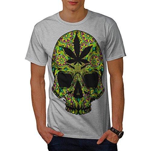Cannabis-Skull-Head-Pot-Skeleton-Men-NEW-Grey-S-T-shirt-Wellcoda