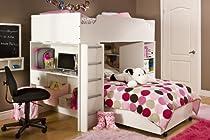 Hot Sale South Shore Complete Loft Bed, Logik/Sand Castle Collection, Pure White