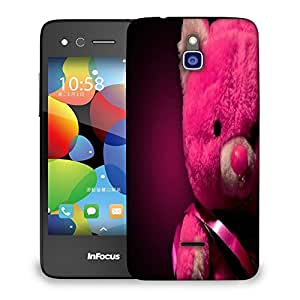 Snoogg Pink Teddy Bear Designer Protective Back Case Cover For INFOCUS M2