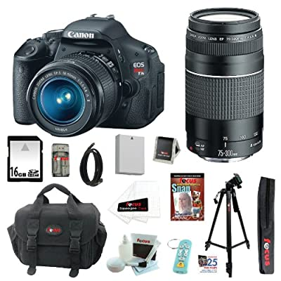 Canon EOS Rebel T3i 18 MP CMOS Digital SLR Camera with EF-S 18-55mm f/3.5-5.6 IS II Zoom Lens & EF 75-300mm f/4-5.6 III Telephoto Zoom Lens + 11pc Bundle 16GB Deluxe Accessory Kit