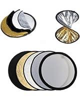 Réflecteur pliable 5 en 1 Ø 80cm pour studio photo - circulaire rétractable , Doré, argenté , noir , blanc, translucide avec sac de transport de luxe , panneau diffuseur