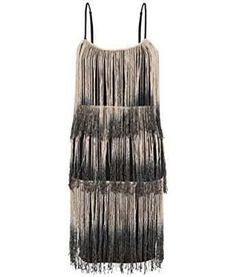 KRISP Womens Vintage Dress 1920s Party Swing Fringe Tassel Bodycon Slimming Mini