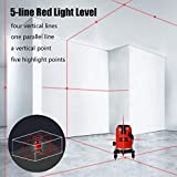 BEESCLOVER 5 Lines 6 Points Level Automatic Self Leveling 360 Vertical&Horizontal Tilt Degrees Rotary LD 635nm Outdoor Mode Level Machine+Tripod EU Plug for ce (Color: Level machine+tripod-EU plug)