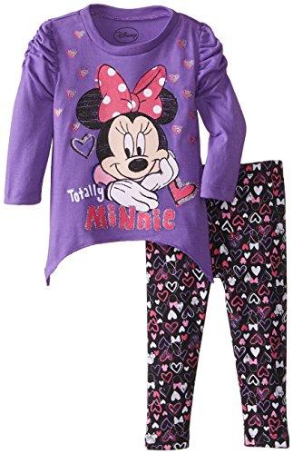 Disney Baby Baby-Girls Infant Disney'S Minnie Girl Hearts Legging Set, Purple, 24 Months front-997982