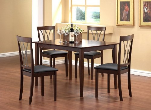 black friday 5pcs solid top dining table with 4 metal back chairs set