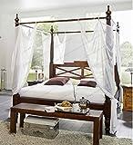 Designer-Massivholz-Himmelbett-Farbe-nougat-traumhaftes-Klassik-Stil-Luxus-Bett-inkl-weier-Stoff-Himmel-Traumbett-Akazie-Holzbett-gnstig-180x200-cm