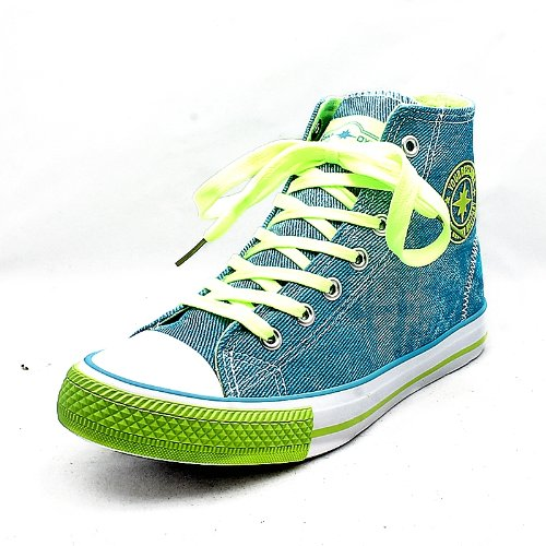 Womens Denim Blue Canvas Pumps With Yellow Laces Baseball Boots New