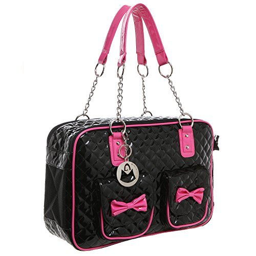 MG-Collection-Fashion-Black-Faux-Patent-Leather-Quilt-Soft-Side-Dog-Cat-Travel-Pet-Carrier-Tote-Handbag