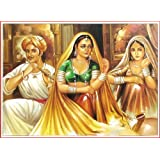 """Dolls Of India """"Rajasthani Ladies With A Flute Player"""" Reprint On Paper - Unframed (43.18 X 33.02 Centimeters)..."""