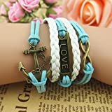 New Romantic password Love letters anchor multilayer Leather Bracelet