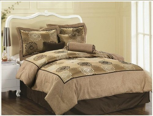 King Size 7 Pieces Linen and High quality Jacquard Comforter Set