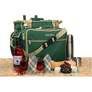 Picnic Set Cool Bag with Wheels Flask and Mugs