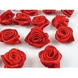 60pcs Satin Ribbon Flower Rose/trim/sewing (Red)