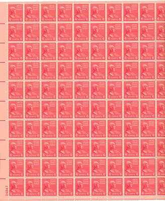 John Quincy Adams Sheet of 100 x 6 Cent US Postage Stamps NEW Scot 811
