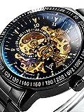Alienwork IK Automatikuhr Automatik Armbanduhr Skelett mechanische Uhr Edelstahl schwarz schwarz 98226-12
