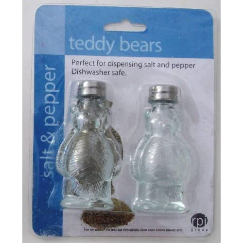 Clear Glass Teddy Bear Salt And Pepper Shakers