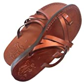 Unisex Adults/Children Genuine Leather Biblical Sandals / Flip flops (Jesus - Yashua) Bethlehem Style I - Holy Land Market Camel Trademark