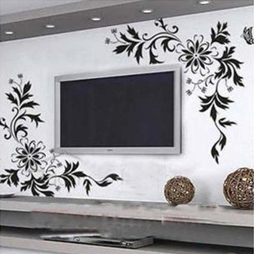 Bloom Flowers Butterfly Sitting Room Tv Setting Wall Stickers Wallpaper Large Black front-6067