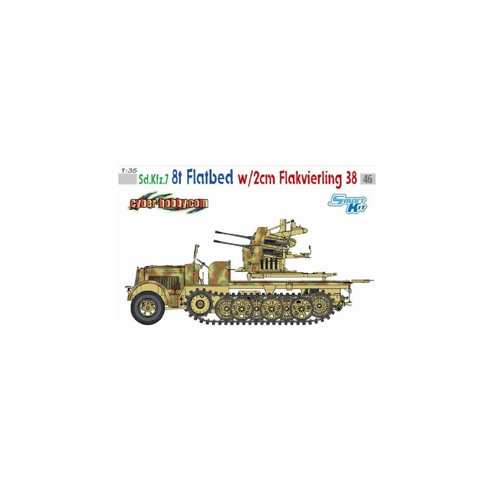 1/35 Cyber Hobby Sd.Kfz.7 8t Halftrack Flatbed w/ 2cm Flak 38 Model Kit Flakvierling German Nazi armored military vehicle WWII World War 2 two II secong Gun combat