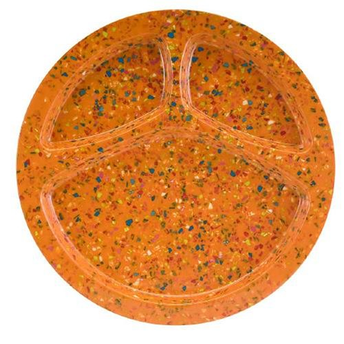 Zak Designs Confetti 11-1/4-Inch Orange Divided Bbq Plate, Set Of 6