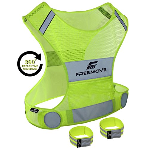Reflective Vest for Running Cycling Dog Walking | High Visibility & Comfortable | Reflective Running Gear Vest | Motorcycle Reflective Safety Vest with Pockets | Bike Reflector Vest | 2x Armband & Bag (Gear Cycles compare prices)