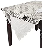 SARO LIFESTYLE 869 Crochet Tablecloths, 30-Inch, Square, White