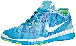 Nike Women\'s Free 5.0 TR Fit 5 Prt Clrwtr/White/Bl Lgn/Flsh Lm Running Shoe 8.5 Women US