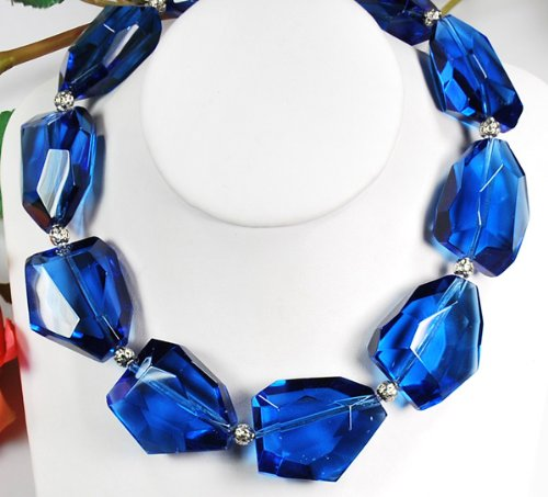 Blue Crystal Large Size Silver Necklace N1_0911_53