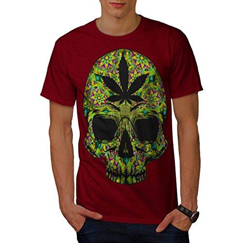Cannabis-Skull-Head-Pot-Skeleton-Men-NEW-Red-S-T-shirt-Wellcoda