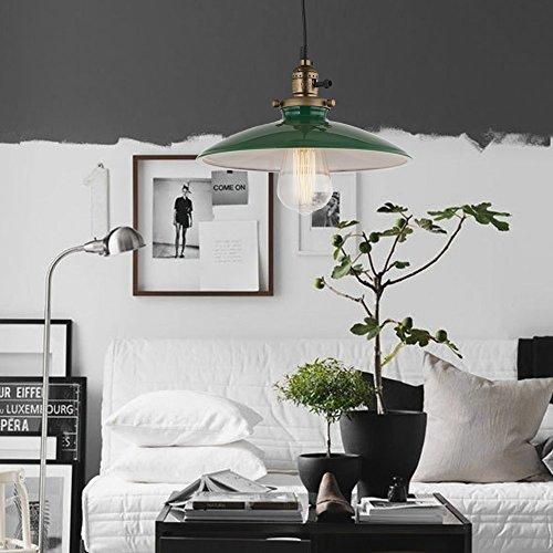 JEMMY HO Metal Warehouse Pendant Lighting Dia 10 Inch Mini Vintage Industrial Barn Pendant Lamp (Green) 5