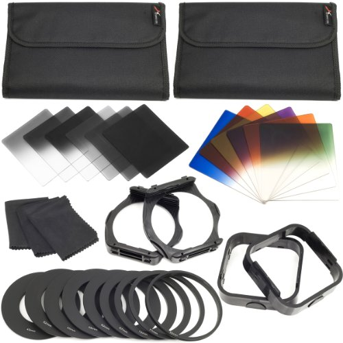 XCSource Complete Square Filter Kit Compatible with Cokin P Series -Inclues:Full ND2 ND4 ND 8 Filter,Graduated ND2,ND4,ND8 Filters,Graduated Blue/Orange/Red/Green/Yellow & Purple Filer + 49/52/55/58/62/67/72/77/82MM Ring Adater + 2 PCS Filter Holder +2 PCS Lens Hood +3 Cleaning Cloth LF142