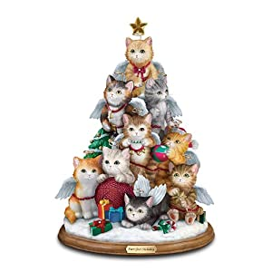 #!Cheap Cat Lovers Tabletop Christmas Decoration: Purr-fect Holiday Tree by The Bradford Exchange