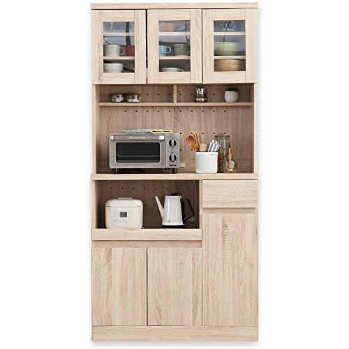 キッチン収納 食器棚 レンジ台 3枚扉 オープン スライド収納 A+Aタイプ ハイタイプ ナチュラル