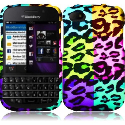 Cell Accessories For Less (Tm) For Blackberry Q10 Rubberized Design Cover Case - Colorful Leopard - By Thetargetbuys