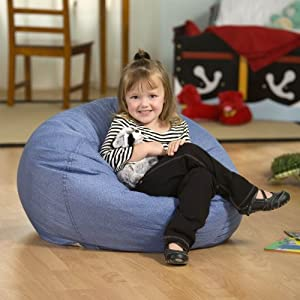 Small Denim Lounger Bean Bag Chair from Ace Bayou Corporation