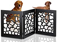 Kleeger Freestanding Folding Indoor Safety Wooden Pet Gate For Home Or Office [ Die-Cut Giraffe Pattern Design ]. No Tools Required, Easy To Set Up by Kleeger