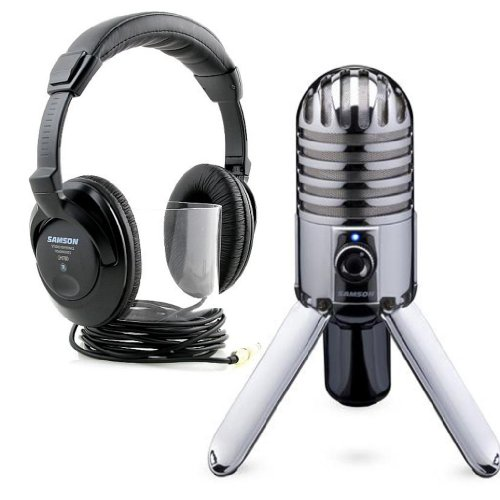 Samson Condenser Meteor Mic Cardioid Usb Microphone With Ch700 Circumaural Headphones - Ideal For Desktop Recording