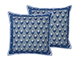 Elegant Set of 2 Beautifully Block Printed in Floral Motifs in Indigo Blue and Gray Indian Cotton Cushion Covers Shams