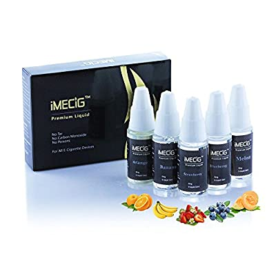 IMECIG® E Liquid Friuit 10ml 5 Pack Strawberry,Orange,Banana,Blueberry,Melon with VG Base Juice| for E Shisha E cigarette Starter Kit| Nocotine free by IMECIG