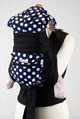 a3f6bf9a552 Palm and Pond Mei Tai Baby Sling Carrier - Blue with White Spots