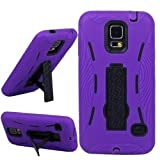 myLife (TM) Vibrant Purple and Shocking Coal Black - Shock Suit Survivor Series (Built in Kickstand + Easy Grip Silicone) 3 Piece + 2 Layer Case for NEW Galaxy S5 (5g) Smartphone By Samsung (External Flex Silicone Bumper Gel + Internal 2 Piece Rubberized Snap Fitted Armor Protector + Shock Absorbing Material)