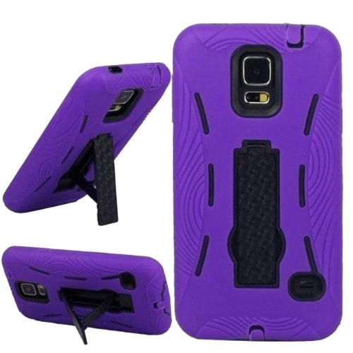 Mylife (Tm) Vibrant Purple And Shocking Coal Black - Shock Suit Survivor Series (Built In Kickstand + Easy Grip Silicone) 3 Piece + 2 Layer Case For New Galaxy S5 (5G) Smartphone By Samsung (External Flex Silicone Bumper Gel + Internal 2 Piece Rubberized