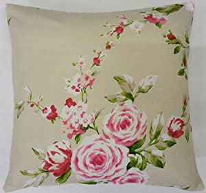 Amazon Com Shabby Pink Red Green Cream Rose Floral
